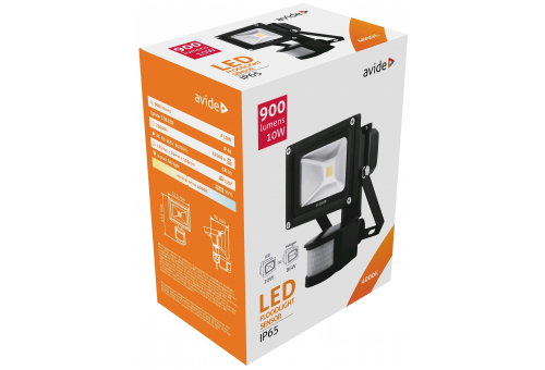 Avide LED Flood Light 10W NW 4000K PIR