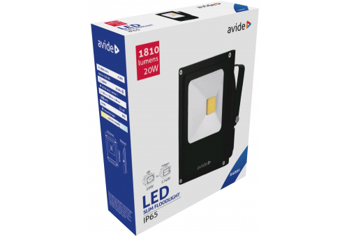 Avide LED Flood Light Slim 20W CW 6400K