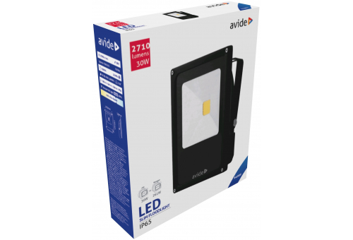 Avide LED Flood Light Slim 30W CW 6400K