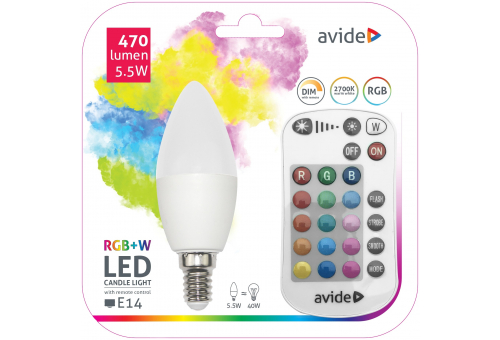 Avide Smart LED Candle 5.5W RGB+W 2700K with IR remote